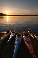 Kayaks at Sunset, Lake Sammamish State Park, Issaquah, Washington State, WA, America, USA.