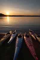 Kayaks at Sunset, Lake Sammamish State Park, Issaquah, Washington State, WA, America, USA.