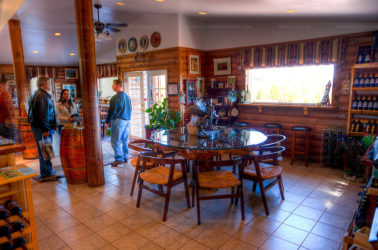 Windows provide natural light and scenic views in the tasting room at Mediterranean Cellars.  (HDR image)