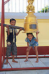 Children Playing With Bell or Tsurigane, Maha Vijaya Pagoda