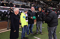 Sunday, 28 November 2012<br /> Pictured: (R-L) John Hartson and Ciaran Fitzgerald.<br /> Re: Barclays Premier League, Swansea City FC v West Bromwich Albion at the Liberty Stadium, south Wales.