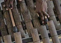 CALI - COLOMBIA. 12-08-2019: Marimba PalmaChonta del Grupo Yembema durante la presentación del XXIII Festival de Música del Pacífico Petronio Alvarez 2019 que es el festival cultural afro más importante de Latinoamérica y se lleva acabo entre el 14 y el 18 de agosto de 2019 en la ciudad de Cali. / Marima made by Palmachonta of the Group Yembema duroing the launch of XXII Pacific Music Festival Petronio Alvarez 2019 that  is the most important afro descendant cultural festival of Latin America and takes place between August 14 and 18, 2019, in Cali city. Photo: VizzorImage/ Gabriel Aponte / Staff
