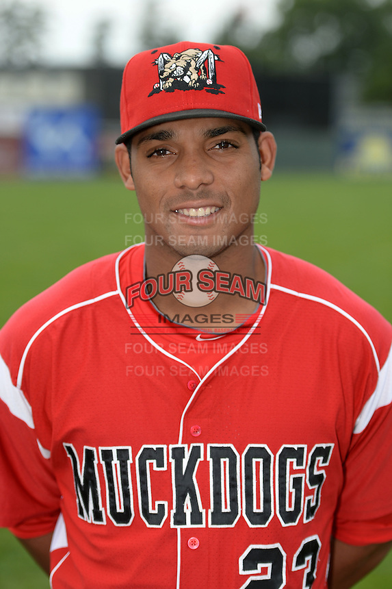 Batavia Muckdogs outfielder John Norwood (23) poses for a photo before a game against the Brooklyn Cyclones on August 11, 2014 at Dwyer Stadium in Batavia, New York.  Batavia defeated Brooklyn 4-3.  (Mike Janes/Four Seam Images)