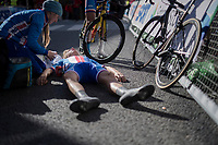 Karel Vacek (CZE) apparently dug deep and almost passed out once crossed the finish line<br /> <br /> Men Junior Road Race<br /> <br /> UCI 2017 Road World Championships - Bergen/Norway