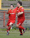 Robert Love (7) celebrates with Steven Canning (8) after he scores Albion Rovers' second goal ......