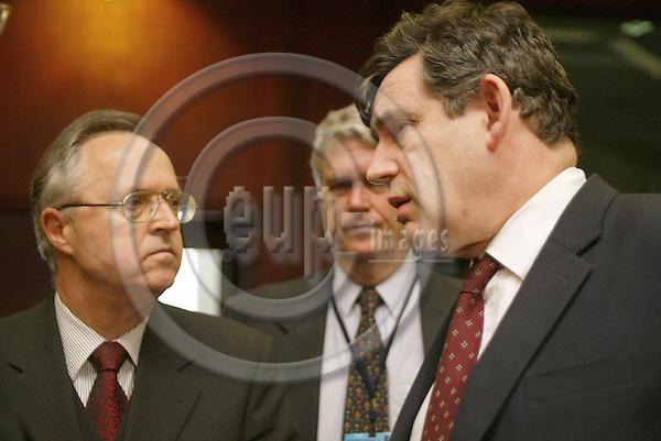 Belgium--Brussels--Council---ECOFIN  18.02.2003.Hans EICHEL, Minister for Finance , Germany ; Caio KOCH-WESER , Staatssekretaer , Finanz , Deutschland / deputy finance minister , Germany ;   Gordon BROWN, Minister for Finance , UK , Great Britain, England;  . PHOTO: EUP-IMAGES.COM / ANNA-MARIA ROMANELLI