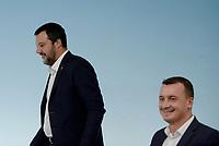 Rom, 20 Ottobre 2018<br /> Rocco Casalino,Matteo Salvini.<br /> Palazzo Chigi<br /> Conferenza stampa al termine del Consiglio dei ministri sul Def