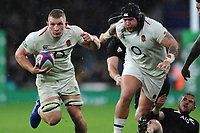 Sam Underhill of England breaks for the line, only to have his try disallowed during the Quilter International match between England and New Zealand at Twickenham Stadium on Saturday 10th November 2018 (Photo by Rob Munro/Stewart Communications)