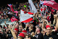 Saracens fans in the crowd show their support. European Rugby Champions Cup Final, between Saracens and Racing 92 on May 14, 2016 at the Grand Stade de Lyon in Lyon, France. Photo by: Patrick Khachfe / Onside Images