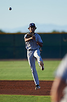 AZL Padres 1 shortstop CJ Abrams (8) throws to first base during an Arizona League game against the AZL Indians Red on June 23, 2019 at the Cleveland Indians Training Complex in Goodyear, Arizona. AZL Indians Red defeated the AZL Padres 1 3-2. (Zachary Lucy/Four Seam Images)