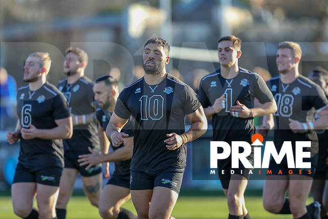 Mark IOANE of London Broncos leads the team's warm up ahead of the Betfred Super League match between London Broncos and Wakefield Trinity at Castle Bar , West Ealing , England on 3 February 2019. Photo by David Horn.