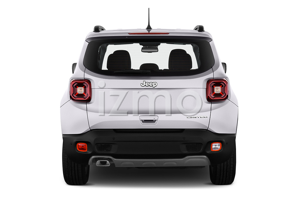 Straight rear view of 2019 JEEP Renegade Limited 5 Door SUV Rear View  stock images