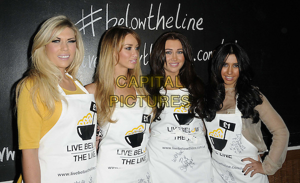 Frankie Essex, Lauren Pope, Lauren Goodger & Peri Sinclair.The Live Below The Line celebrity charity cook-off, Shoreditch Waterhouse restaurant, Orsman Rd., London, England..March 5th, 2012.half length white apron yellow beige top.CAP/CAN.©Can Nguyen/Capital Pictures.