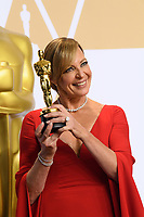 Allison Janney poses backstage with the Oscar&reg; for performance by an actress in a supporting role for work on &ldquo;I, Tonya&rdquo; during the live ABC Telecast of The 90th Oscars&reg; at the Dolby&reg; Theatre in Hollywood, CA on Sunday, March 4, 2018<br /> <br /> <br /> *Editorial Use Only*<br /> CAP/PLF/AMPAS<br /> Supplied by Capital Pictures