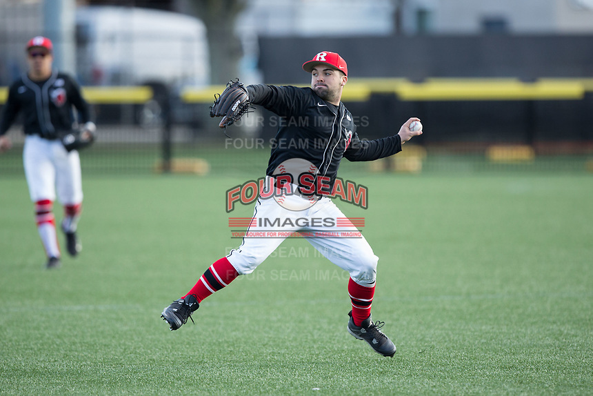 Rutgers Scarlet Knights right fielder Tom Marcinczyk (31) throws the ball back to the infield during the game against the Iona Gaels at City Park on March 8, 2017 in New Rochelle, New York.  The Scarlet Knights defeated the Gaels 12-3.  (Brian Westerholt/Four Seam Images)