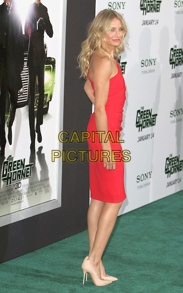 "CAMERON DIAZ .Attending ""The Green Hornet"" Los Angeles Premiere held at Grauman's Chinese Theatre, Hollywood, California, USA, 10th January 2011..full length red one shoulder dress tanned beige patent nude heels shoes pointy pointed side back over shoulder rear behind .CAP/ADM/CH.©Charles Harris/AdMedia/Capital Pictures"