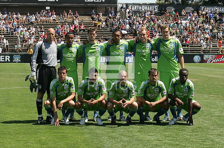 Seattle Sounders FC starting eleven. The San Jose Earthquakes defeated Seattle Sounders FC 4-0 at Buck Shaw Stadium in Santa Clara, California on August 2, 2009.