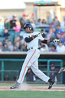 Rafael Rodriguez (41) of the San Jose Giants bats during a game against the Lancaster JetHawks at The Hanger on April 11, 2015 in Lancaster, California. San Jose defeated Lancaster, 8-3. (Larry Goren/Four Seam Images)