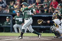 Michigan State Spartans shortstop Royce Ando (13) follows through on his swing against the Michigan Wolverines during the NCAA baseball game on April 18, 2017 at Ray Fisher Stadium in Ann Arbor, Michigan. Michigan defeated Michigan State 12-4. (Andrew Woolley/Four Seam Images)