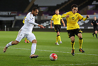 Pictured L-R: Kenji Gorre of Swansea takes a cross against Oscar Borg of Aston Villa Monday 25 April 2016<br /> Re: Play Off semi final, Swansea City AFC U21 v Aston Villa FC U21 at the Liberty Stadium, Swansea, UK