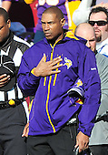 Minnesota Vikings head coach Leslie Frazier listens to the National Anthem prior to the game against the Washington Redskins at FedEx Field in Landover, Maryland on Sunday, November 28, 2010.  It was Frazier's first game as head coach.  The Vikings won the game 17 - 13..Credit: Ron Sachs / CNP