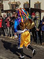 Scheller beim Aufzug der Masken beim Nassereither Schellerlauf, Fasnacht in Nassereith, Bezirk Imst, Tirol, &Ouml;sterreich, Europa, immaterielles UNESCO Weltkulturerbe<br /> Scheller, gathering of the masks, Nassereither Schellerlauf-Fasnacht, Nassereith, Tyrol, Austria Europe, Intangible World Heritage