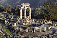 DELPHI, GREECE - APRIL 10 : A view from the top of the Tholos, on April 10, 2007 in the Sanctuary of Athena Pronaia, Delphi, Greece. Circular marble structure, the Tholos is in the Doric order and was built at the beginning of the 4th century BC. (Photo by Manuel Cohen)