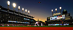 4 September 2009: The sun sets and the scoreboard gets brighter during a Cleveland Indians game against the Minnesota Twins at Progressive Field in Cleveland, Ohio. The Indians defeated the Twins 5-2 to take the first game of their three-game weekend series. Mandatory Credit: Ed Wolfstein Photo