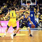 12.02.2019, Mercedes Benz Arena, Berlin, GER, ALBA ERLIN vs.  Basketball Loewen Braunschweig, <br /> im Bild Joshiko Saibou (ALBA Berlin #1), Joe Rahon (Braunschweig #25)<br /> <br />      <br /> Foto &copy; nordphoto / Engler