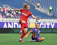 Orlando, FL - Sunday June 26, 2016: Amandine Henry, Dani Weatherholt  during a regular season National Women's Soccer League (NWSL) match between the Orlando Pride and the Portland Thorns FC at Camping World Stadium.