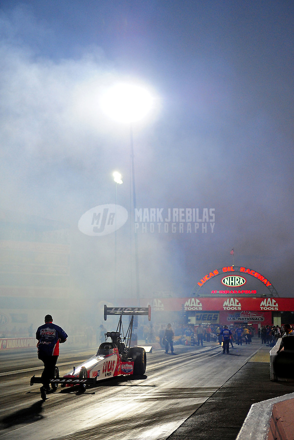 Sept. 2, 2011; Claremont, IN, USA: NHRA top fuel dragster driver Shawn Langdon during qualifying for the US Nationals at Lucas Oil Raceway. Mandatory Credit: Mark J. Rebilas-
