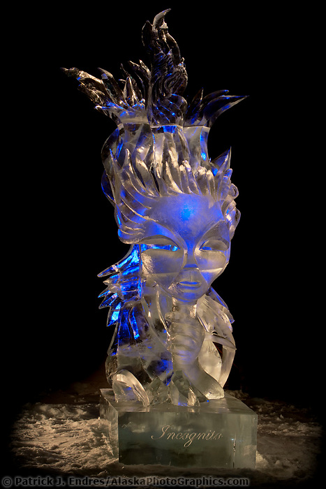 """2006 World Ice Art Championships single block sculpture.  """"Incognito"""" by Mark Johnson and Steve Berkshire"""