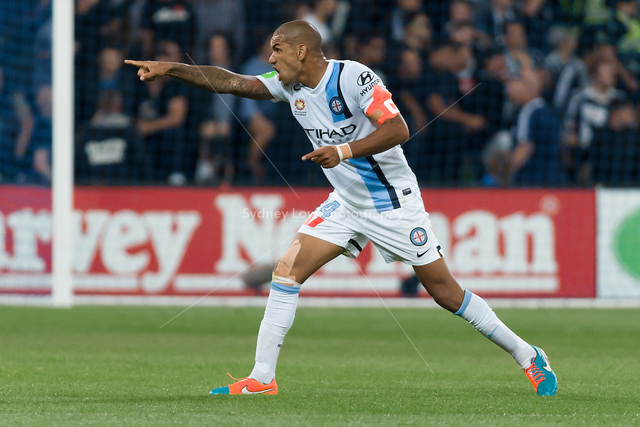 Patrick KISNORBO of Melbourne City signals to his coach in round 11 A-League match between Melbourne City and Melbourne Victory at AAMI Park in Melbourne, Australia during the 2014/2015 Australian A-League season. City def Victory 1-0