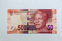 South Africa, Currency Showing Nelson Mandela.  50 Rand.