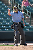 Home plate umpire Brad Myers makes a call during a game between the Rochester Red Wings and Durham Bulls at Frontier Field on June 21, 2012 in Rochester, New York.  Durham defeated Rochester 14-8.  (Mike Janes/Four Seam Images)