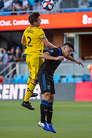 San Jose, CA - Saturday August 03, 2019: Luis Argudo #2, Cristian Espinoza #10 in a Major League Soccer (MLS) match between the San Jose Earthquakes and the Columbus Crew at Avaya Stadium.