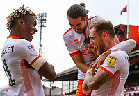 Blackpool's Harry Pritchard celebrates scoring the opening goal with teammates<br /> <br /> Photographer Alex Dodd/CameraSport<br /> <br /> The EFL Sky Bet League One - Barnsley v Blackpool - Saturday 27th April 2019 - Oakwell - Barnsley<br /> <br /> World Copyright © 2019 CameraSport. All rights reserved. 43 Linden Ave. Countesthorpe. Leicester. England. LE8 5PG - Tel: +44 (0) 116 277 4147 - admin@camerasport.com - www.camerasport.com