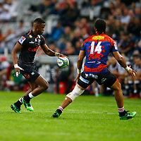 Aphelele Fassi of the Cell C Sharks kicking during the Super rugby match between the Cell C Sharks and the Emirates Lions at Jonsson Kings Park Stadium in Durban, South Africa 30 March 2019. Photo: Steve Haag / stevehaagsports.com