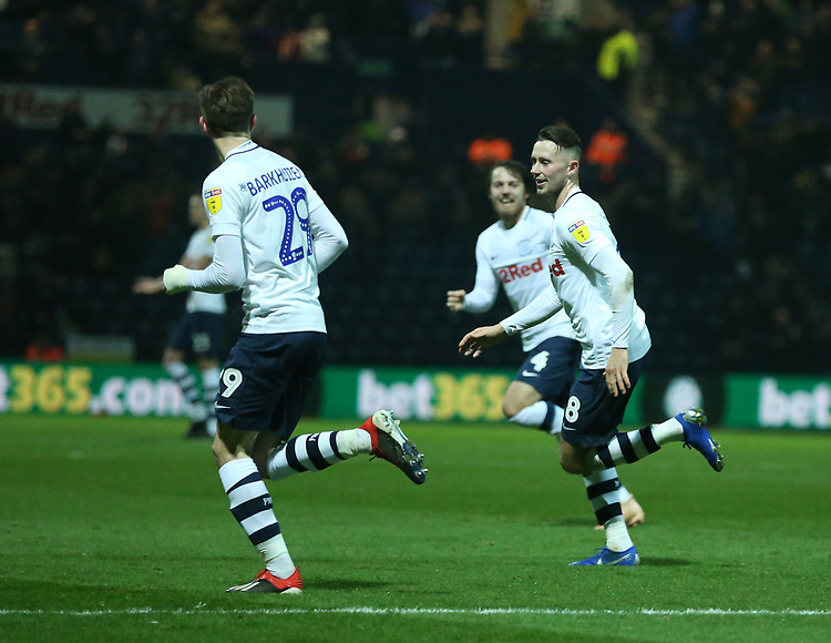 Preston North End's Alan Browne celebrates scoring the opening goal <br /> <br /> Photographer Stephen White/CameraSport<br /> <br /> The EFL Sky Bet Championship - Preston North End v Middlesbrough - Tuesday 27th November 2018 - Deepdale Stadium - Preston<br /> <br /> World Copyright © 2018 CameraSport. All rights reserved. 43 Linden Ave. Countesthorpe. Leicester. England. LE8 5PG - Tel: +44 (0) 116 277 4147 - admin@camerasport.com - www.camerasport.com