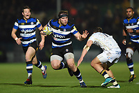 Henry Thomas of Bath Rugby looks to fend Josh Adams of Worcester Warriors. Aviva Premiership match, between Worcester Warriors and Bath Rugby on January 5, 2018 at Sixways Stadium in Worcester, England. Photo by: Patrick Khachfe / Onside Images