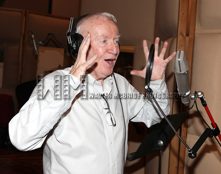 Jim Norton recording the 2012 Original Broadway Cast Recording of 'The Mystery of Edwin Drood' at the KAS Music & Sound Studios in Astoria, New York on December 10, 2012