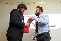 The team captains exchange tie and towel after the Heartland Championship rugby match between Horowhenua Kapiti and Wairarapa Bush at Westpac Stadium in Wellington, New Zealand on Sunday, 1 October 2017. Photo: Dave Lintott / lintottphoto.co.nz