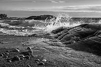 Brytande våg vid  klippa på havsstrand vid Torö i Stockholms skärgård svartvitt