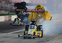 Sept. 1, 2012; Claremont, IN, USA: NHRA top fuel dragster driver Spencer Massey during qualifying for the US Nationals at Lucas Oil Raceway. Mandatory Credit: Mark J. Rebilas-
