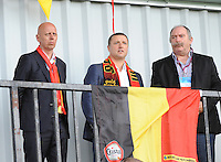 20140715 - Strømmen , NORWAY : Belgium soccer union general secretary Steven Martens pictured with Ives Serneels and Hubert De Neef (r) during the female soccer match between Women under 19 teams of  Belgium and Scotland , on the first matchday in group A of the UEFA Women Under19 European Championship at Strommen Stadion , Norway . Tuesday 15th July 2014 . PHOTO DAVID CATRY