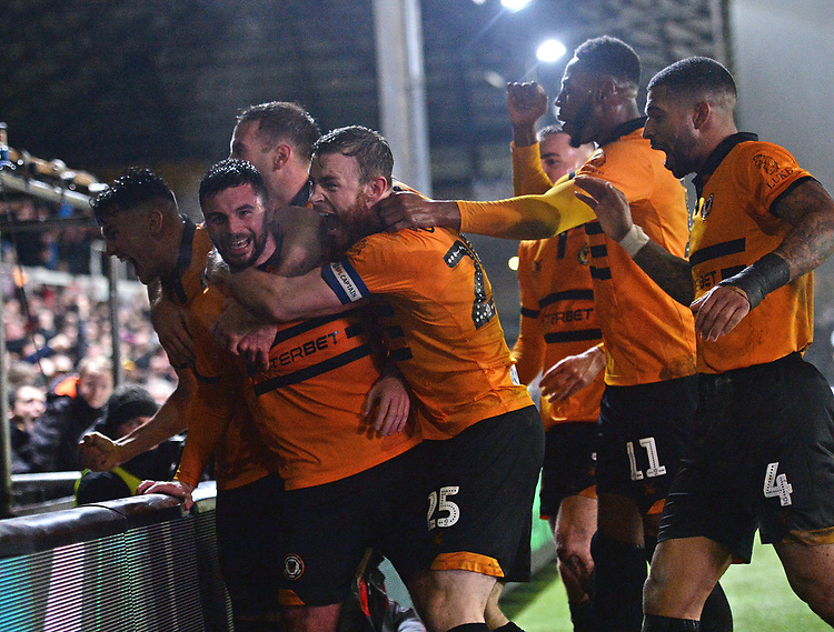 Newport County's Padraig Amond celebrates scoring his side's second goal  \with his team mates<br /> <br /> Photographer Ian Cook/CameraSport<br /> <br /> Emirates FA Cup Fourth Round Replay - Newport County v Middlesbrough - Tuesday 5th February 2019 - Rodney Parade - Newport<br />  <br /> World Copyright © 2019 CameraSport. All rights reserved. 43 Linden Ave. Countesthorpe. Leicester. England. LE8 5PG - Tel: +44 (0) 116 277 4147 - admin@camerasport.com - www.camerasport.com