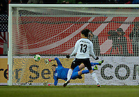 Offenbach, Germany, Friday, April 05 2013: Womans, Germany vs. USA, in the Stadium in Offenbach,  Penalty 2:3:  Celia Okoyinio Da Mbabi (GER), Nicole Barnhart  (USA).