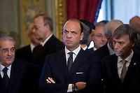 Angelino Alfano, vice-premier e ministro dell'Interno durante la cerimonia del giuramento del nuovo Governo Letta nel Salone delle Feste del Quirinale.