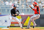 5 March 2011: New York Yankees' infielder Eduardo Nunez gets Ian Desmond out at second during a Spring Training game against the Washington Nationals at George M. Steinbrenner Field in Tampa, Florida. The Nationals defeated the Yankees 10-8 in Grapefruit League action. Mandatory Credit: Ed Wolfstein Photo