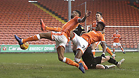 Blackpool's Curtis Tilt (left) and Armand Gnanduillet stretch for a ball into the box<br /> <br /> Photographer Rich Linley/CameraSport<br /> <br /> The EFL Sky Bet League One - Blackpool v Barnsley - Saturday 22nd December 2018 - Bloomfield Road - Blackpool<br /> <br /> World Copyright &copy; 2018 CameraSport. All rights reserved. 43 Linden Ave. Countesthorpe. Leicester. England. LE8 5PG - Tel: +44 (0) 116 277 4147 - admin@camerasport.com - www.camerasport.com